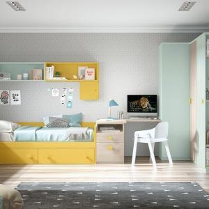 Dormitorio juvenil con armario en esquinas