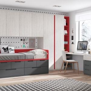 Dormitorio juvenil con puente y escritorio